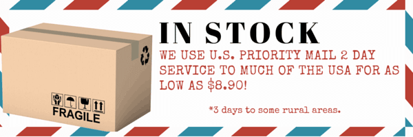 In-Stock item ready for immediate shipment via USPS 2-3 day Priority Mail.
